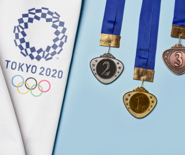 Summer Olympics symbol with a Gold, Silver, and bronze medal